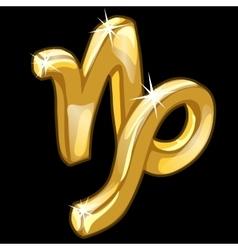 Golden zodiac sign Capricorn on black background vector image
