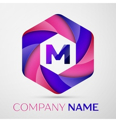 M Letter colorful logo in the hexagonal on grey vector image