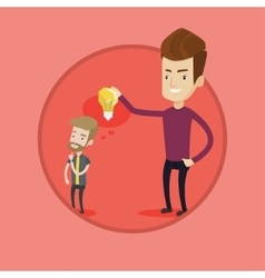 Businessman giving idea bulb to his partner vector