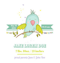Baby shower card cute parrot boy on a brunch vector
