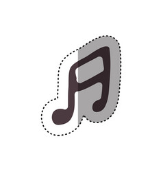 Sticker hand drawing silhouette musical note icon vector