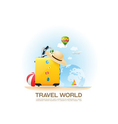 travel bag and holiday vector image