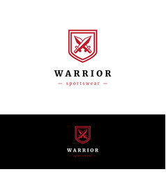 Minimalistic logo with two swords and shield vector