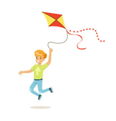 Happy boy running with his flying kite kids vector