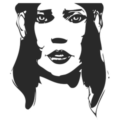 Black and white hand-drawn woman portrait ink vector