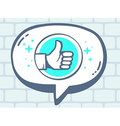 Speech bubble with icon of thumb up on gr vector