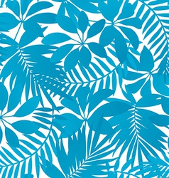Blue tropical leaves seamless pattern vector