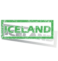 Green outlined iceland stamp vector