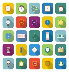 Time color icons with long shadow vector