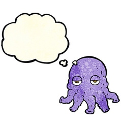Cartoon alien squid face with thought bubble vector