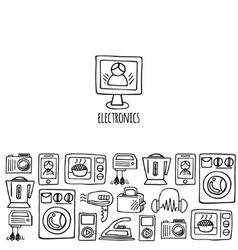 Home electronics sketch horizontal banner vector