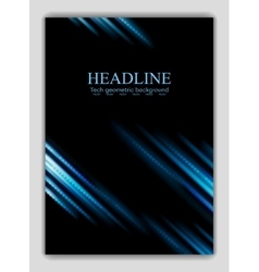 Abstract blue glowing stripes flyer design vector