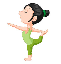 a smiling girl doing yoga vector image