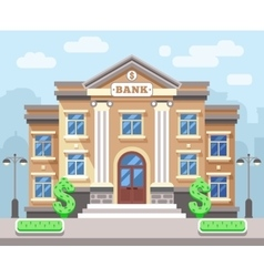 Bank building with cityscape business and finance vector