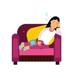 beautiful brunette girl sleeping on armchair vector image