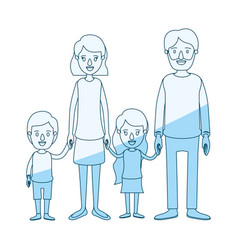Blue silhouette shading caricature family group vector