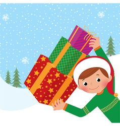 Boy with christmas gift vector image vector image