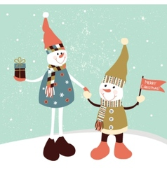 Christmas greeting card with two stylized snowmen vector image vector image