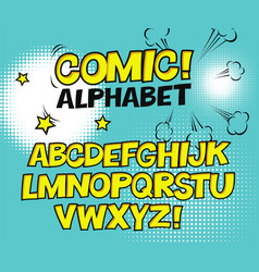 comic retro yellow alphabet halftone background vector image