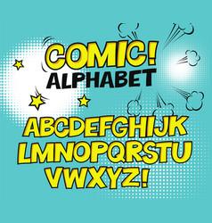 Comic retro yellow alphabet halftone background vector