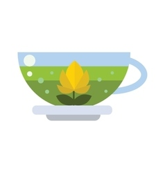 Cup of fresh hot green tea vector
