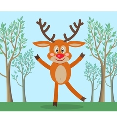 Cute deer in forest cartoon flat vector