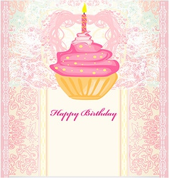 Cute retro cupcakes card - happy birthday card vector