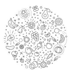 Detox diet vegetarian food concept vector image