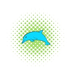 Dolphin icon comics style vector image