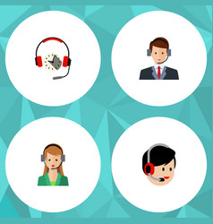 Flat icon call set of headphone operator hotline vector