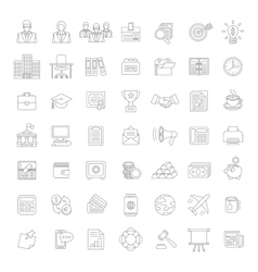 Flat thin line business and finance icons vector image vector image