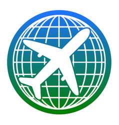 globe and plane travel sign white icon in vector image