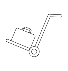 Hand cart suitcase luggage travel equipment thin vector