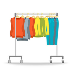 Hanger rack with warm women clothes winter set vector image vector image