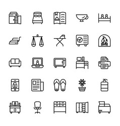 Hotel line icons 12 vector