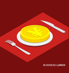Isometric 3d coin with yen sign on plate vector