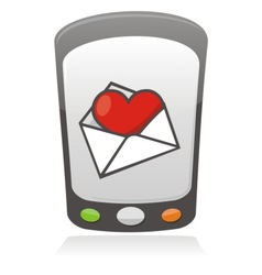 mobile love icon vector image