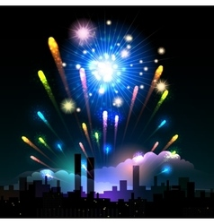 Night fireworks in a city vector image vector image