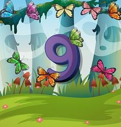 Number nine with 9 butterflies in garden vector