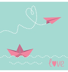 Origami paper boat and paper plane vector image