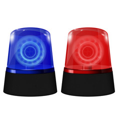 Police blue and red siren flashing emergency vector