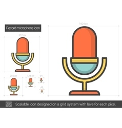 Record microphone line icon vector