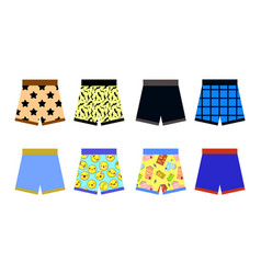 Set of colored underpants shorts with a patternon vector