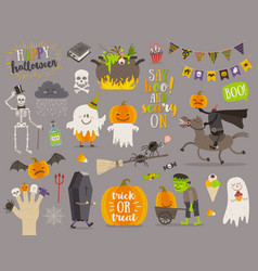 Set of halloween sign symbol and characters vector