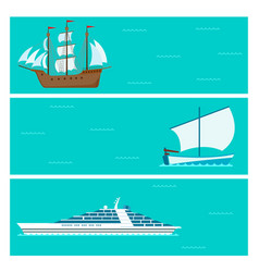 Ship cruiser boat sea brochure vessel travel vector