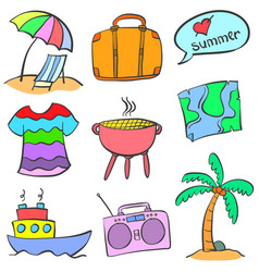 Summer holiday element doodle style vector