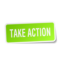 Take action square sticker on white vector