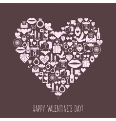 Valentines Day mosaic icons heart card vector image vector image