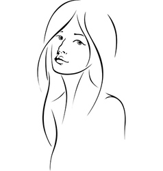 woman face with long hair vector image vector image