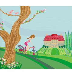 woman riding a bike on a spring day vector image